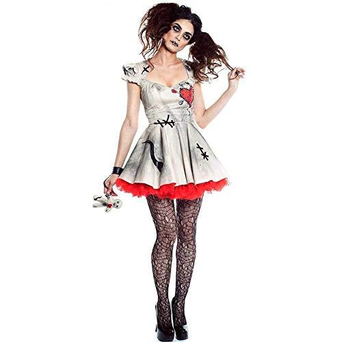 GWNJSSX Halloween Partei Maskerade,Erwachsenen Frauen Das Voodoo-Puppen-Kostüm Der Cosplay Abendkleid,White-S (Dinosaurier Puppe Kostüm)