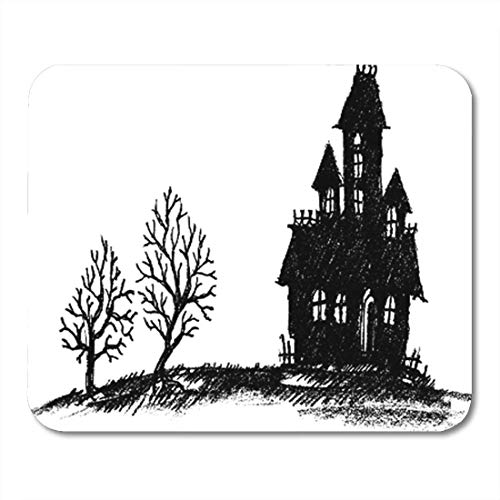 HOTNING Gaming Mauspads, Gaming Mouse Pad Drawn Halloween Haunted House Silhouette Hand Doodle Creepy Scary Drawing 11.8