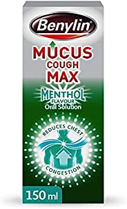Benylin Mucus Cough Max Menthol Flavour, Helps to Clear Chest Mucus from Day 1, Cough Medicine for Adults, 100