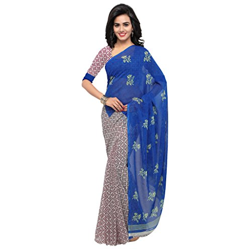 Kashvi Sarees Faux Georgette Blue & Multi Color Printed Saree With Blouse Piece ( 1200_2 )  available at amazon for Rs.259