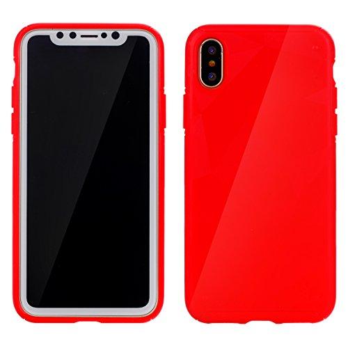 CaseforYou Hülle iphone X Schutz Gehäuse Hülse Premium Shatterproof Anti-Scratch Protective Shell Soft TPU Anti Drop Back Case Schutzhülle für iphone X Handy (Black) Red
