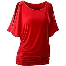 iBaste Damen Oberteil Festlich T-Shirts Bluse Elegant Shirt Kurzarm Große  Größen 8a885250db