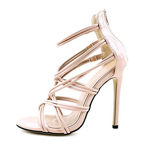 Minetom Damen Schuhe Sandaletten Sandalen Stiletto Ziersteine 9 cm Beige 43 EU