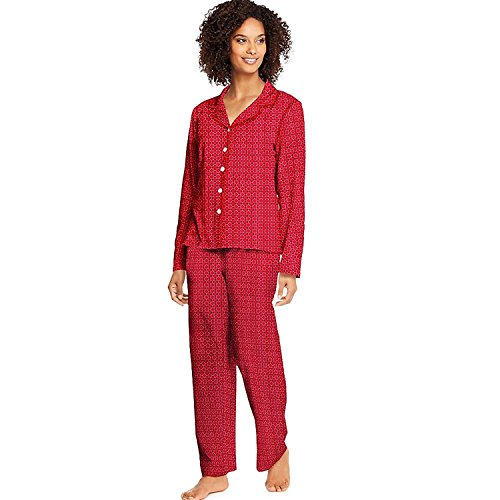 Hanes Womens Knit Notched Collar Top and Pants Sleep Set (Pants Knit Lightweight)