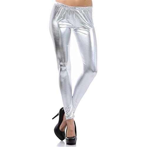 Mode Leggins Metallic Soft Shine Leggins Niedrige Taille Für Frauen Silber M