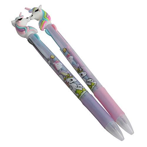 1 x Einhorn-Kugelschreiber, 3-in-1, einziehbarer Kugelschreiber, für Büro, Schule, Supplies Studenten, Kinder Geschenk 2 Pcs