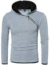 ITISME Herren Pullover Herren Herbst Winter Casual Oberteile Langärmeliges T-Shirt mit Reißverschluss Solide Kapuze Bluse