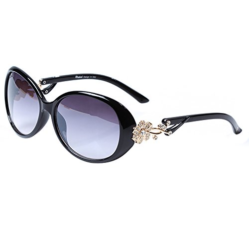LianSan Oval Fashion Polarized Damen Gold Blume Marke Designed Lady Sonnenbrille GD103 (schwarz)