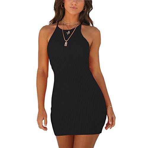 Wanpul vestito estate donna sexy senza maniche vestito corto casual slim senza spalline vestito aderente nero s