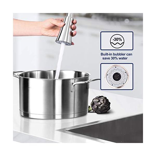 LENTIA Grifo de Cocina de 360 grados, Grifo Cocina Extraíble con 2 Modos de Salidas de Agua,Grifo Cocina de Acero Inoxidable 304,Grifo Fregadero para el Agua Caliente y Frío