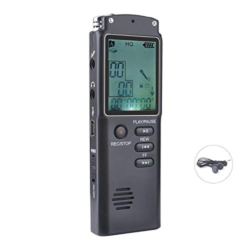 L&Z Digitales Diktiergerät, USB Digitalrecorder 8GB HD Stereo Audio Aufnahmegerät 1536Kbps Voice Recorder mit Doppelmikrofon Spracherkennung Lautsprecher Geräuschunterdrückung für Klasse Konferenzen