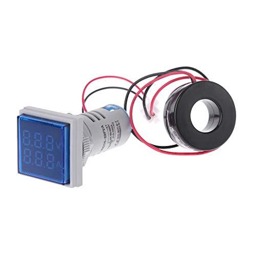 Besttse Quadratisches LED-Digitales Voltmeter und Amperemeter, Spannungsmessgerät, Wechselstrom 60-500 V, 0-100 A -