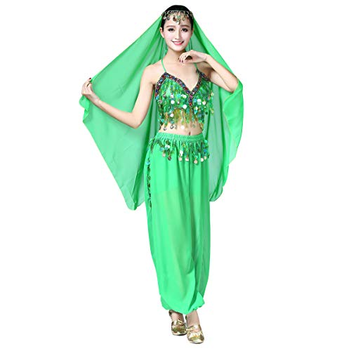 OBEEII Disfraz de Danza Arabe 3Piezas Traje de Danza de Vientre para Mujer para Actuación Carnaval Baile Oriental India Árabe Top Pantalones y Velo Cabeza Verde