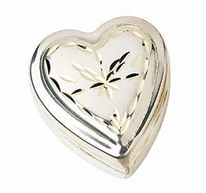 Petit pilulier pillenetui forme de coeur en métal doré de décoration vintage d'argent