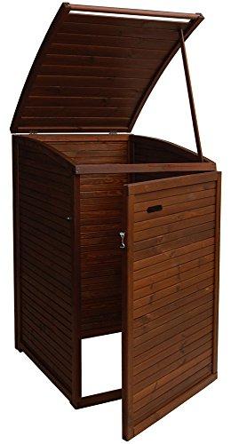 Andrewex Mülltonnenbox für 1 Tonnen 97 x 75 cm 240 Liter aus Holz, Braun Teak Pinie Anthrazit Grau Cream Mülltonnenschrank Mülltonnenverkleidung - 2