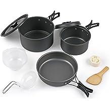 Batería de Cocina para Camping 1 Persona, Set de Cocina para Acampada, Batería de