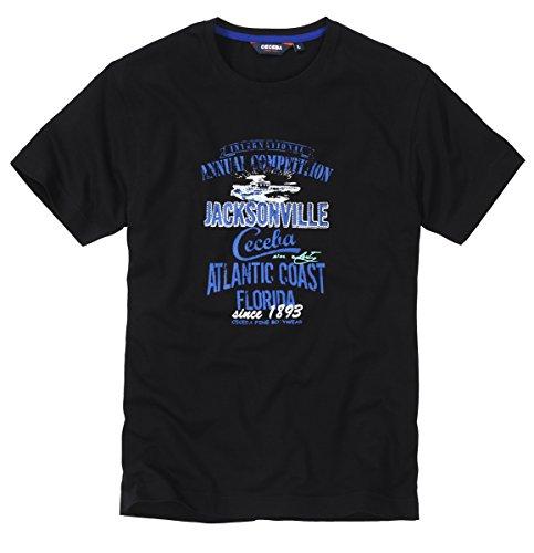 Ceceba Herren T-Shirts Rundhals mit Aufdruck Normal & Plus Größen Gr. S bis 10XL Mix & Match Schwarz