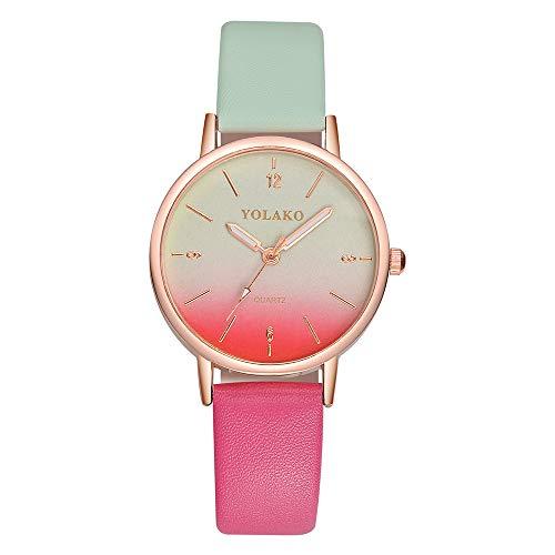 Tensay Damen Armbanduhr Gradient Uhr Analog Quarz Uhren mit Lederband Uhrenarmband Armband Mädchen Frau Einfach Großzügig Armbanduhren