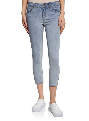 oodji Ultra Damen Jeans-Capri in Used-Optik, Blau, 28W / 32L (DE 38 / EU 40 / M)