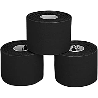 ALPIDEX 3 Rolls Kinesiology Tape 5 m x 5 cm in 11 different colours, Colour:black