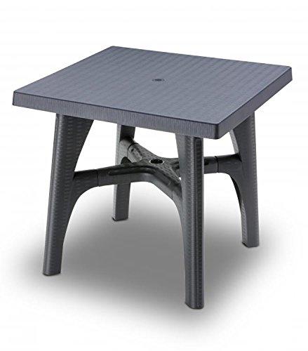 Ideapiu Table carrée 80 x 80 Anthracite, Table rotin synthétique, Table Plastique tressé