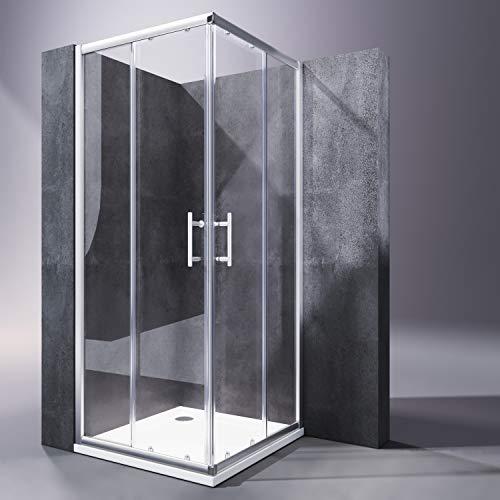 SONNI Duschkabine/Duschabtrennung 80x80cm Eckeinstieg mit Duschwanne Doppel Schiebetür Echtglas