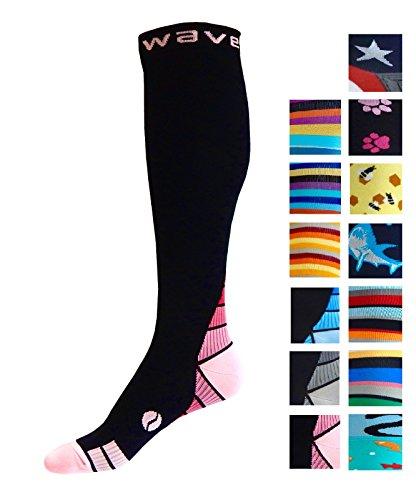 Kompression Socken (1Paar) für Damen & Herren von Wave–Beste für Running, Leichtathletik, Crossfit, Flight Reisen, Still Schwangerschaft, (Krankenschwester Knie-hohe Kompressions-socken)