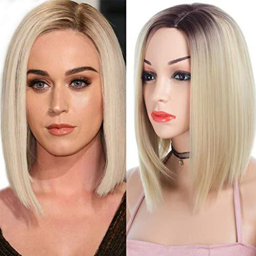 ATAYOU® Mittellange Gerade Blonde Ombre Synthetische Perücken Für Frauen Mit 1 Gratis Perücke (Mittellang Blonde Perücken)