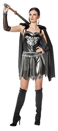 Kostüm Gladiator Damen - Karneval-Klamotten Gladiatorin Kostüm Damen Römische Kriegerin Kostüm Gladiator-in Damenkostüm Silber schwarz Größe 44