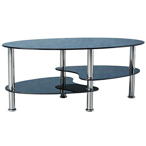 Cara Oval Coffee Table Black Glass / Chrome