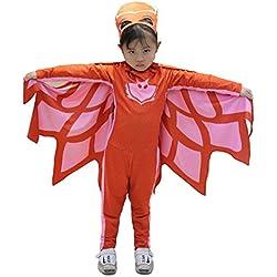 Tamaño 130-7 - 9 años - Disfraz - Traje - Carnaval - Halloween - Rojo - Superhéroes - Máscaras Pj - Niña - Buhita