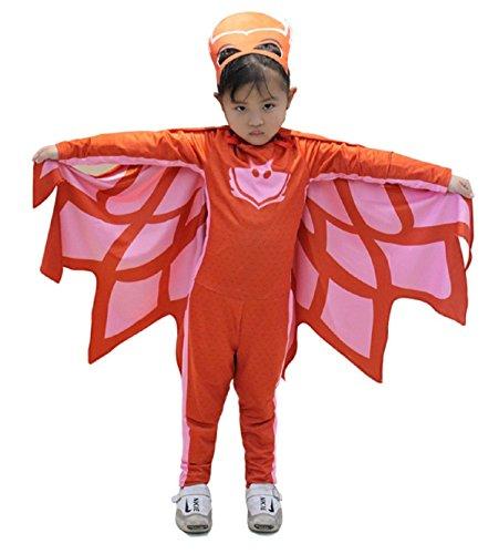 Größe 120-5 - 7 Jahre - Kostüm - Verkleidung - Karneval - Halloween - Eulen - Rot - Super Heroes - Pj Masken - Mädchen - Eulette (Mädchen Superhelden Kostüm Ideen)