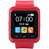 [Ofertas]EasySMX Bluetooth 4.0 Smartwatch Soporte de 2016 Sistema Android Versión Nueva Reloj con Android Smartphones como Samsung, HTC, Sony, Huawei (Rojo)