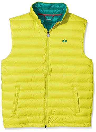 La Martina Herren Weste Man Vest Nylon Gelb (Green sheen 02110)