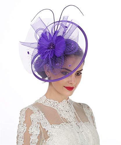 Lucky Leaf Fascinators Hut Blume Mesh Bänder Federn auf einem Stirnband und einem geteilten Clip Cocktail Tea Party Hochzeit Kirche Headwear für Mädchen und Frauen Braut(1-8-Violett) -