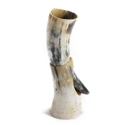 Corno per bevande e supporto in corno lucidati, perfetto per ricostruzioni medievali