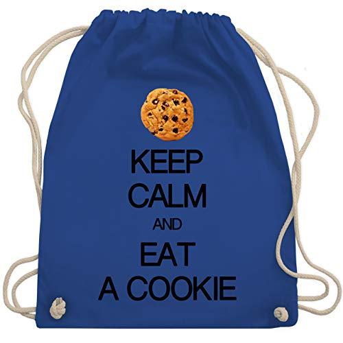 Shirtracer Keep calm - Keep calm and eat a cookie - Unisize - Royalblau - WM110 - Turnbeutel und Stoffbeutel aus Bio-Baumwolle