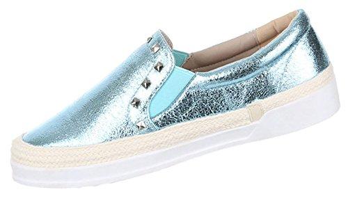 Damen Halbschuhe Lace up Schuhe Slipper Nieten Schwarz silber blau 37 38 39 40 41 Hellblau