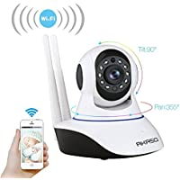 AKASO IP1M-901 720P HD IP Security Camera - Wifi Home Surveillance Camera Wireless 1.0MP 1280x720p Mega-Pixels Plug and Play IP Cam Day/Night Pan/Tilt Home Monitoring Camera Dual 3dBi WIFI Antenna CCTV Surveillance Network Webcam