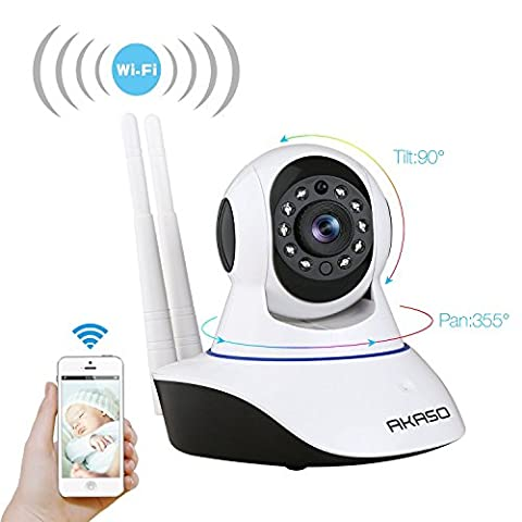 AKASO Wireless Wifi Security IP Camera Pan/Tilt 720P HD Plug/Play Home Indoor Surveillance Video Baby Monitor, Two-Way Audio, Day/Night Vision, Remote View, Motion Detection, SD Card Slot(IP1M-901)