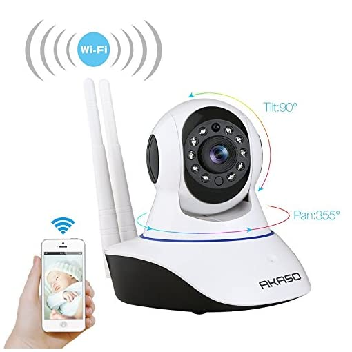 AKASO Wireless Wifi Security IP Camera Pan/Tilt 720P HD Plug/Play Home Indoor Surveillance Video Baby Monitor, Two-Way Audio, Day/Night Vision, Remote View, Motion Detection, SD Card Slot(IP1M-901) 41JImLg4R9L