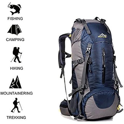 iTrank grande capacità 45 + 5 litri campeggio impermeabile esterna Trekking Trekking zaino da viaggio con la copertura della pioggia per Backpacker Traveler