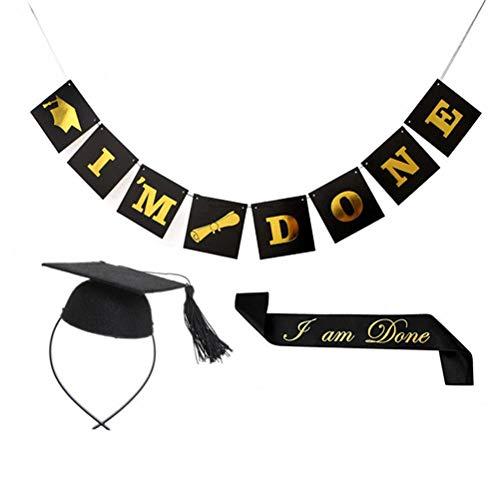 Amosfun 3 STÜCKE Graduation Party Supplies Kit Graduation Cap Stirnband Graduation Sash Ich Bin fertig Banner Graduation Party Foto Requisiten für Congrats Grad Party Supplies