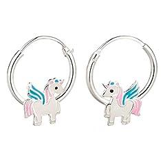 Idea Regalo - FIVE-D, orecchini a cerchio per bambini, con unicorno colorato, in argento 925, in confezione regalo: 1,2 x 12 mm