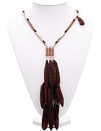 Hosaire Collare de Plata Moda Mujer de Pluma Largo Cadena Encantos Suéter Collar Accesorios de la Joyería
