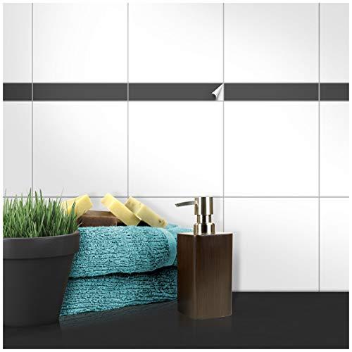 Wandkings Fliesenaufkleber - Wähle eine Farbe & Größe - Dunkelgrau Seidenmatt - 5 x 20 cm - 20 Stück für Fliesen in Küche, Bad & mehr