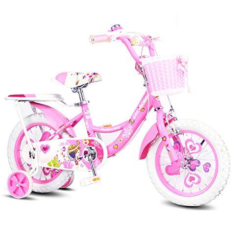 XiangYu Kinderfahrrad, Material mit Hohem Kohlenstoffstahl, Doppelscheiben Bremssystem, Verstellbarer Lenker und Sattel + Rutschfestes Hilfsrad + Luxusgeschenke + Korb Pink-16inch