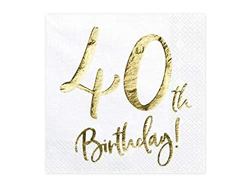 20 Servietten 40th Birthday, white, 33x33cm (1 pkt / 20 pc.) SP33-77-40-008 (Für Silvester Partyartikel)
