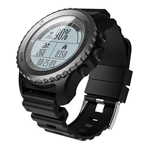 Reloj Inteligente Bluetooth Reloj deportivo con altímetro/ barómetro /termómetro y GPS incorporado, rastreador de fitness para Natación, snorkeling, juegos de pelota, caminar, correr, escalar,Black