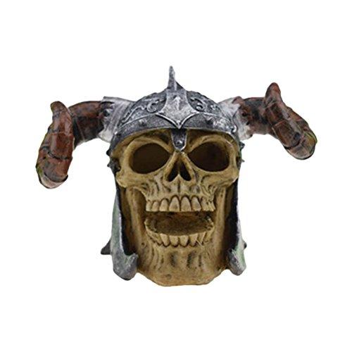 BESTOYARD Halloween Schädel Dekor Horror Neuheit Spielzeug Parodie Menschlichen Prop Harz Schädel Kopf Ornament (Stilvolle Horn Schädel Kopf)
